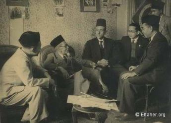"The first official Indonesian delegation following the independence of Indonesia and the declaration of the republic arrived in Egypt during the summer of 1946. The delegation was headed by Haji Agus Salim (the second man from left), first Indonesian Deputy Prime Minister and Minister of Foreign Affairs, and held a meeting with Eltaher at ""Dar Ashoura"" in Cairo."