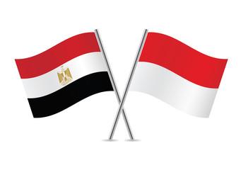 Bendera Mesir dan Indonesia