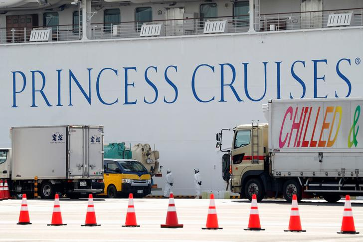 Workers Load Supplies For The Cruise Ship Diamond Princess At Daikoku Pier Cruise Terminal In Yokohama, South Of Tokyo, Japan