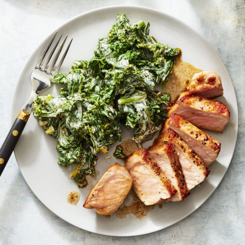 Butter Basted Pork Chops With Tangy Creamed Kale Rr1117 103145022