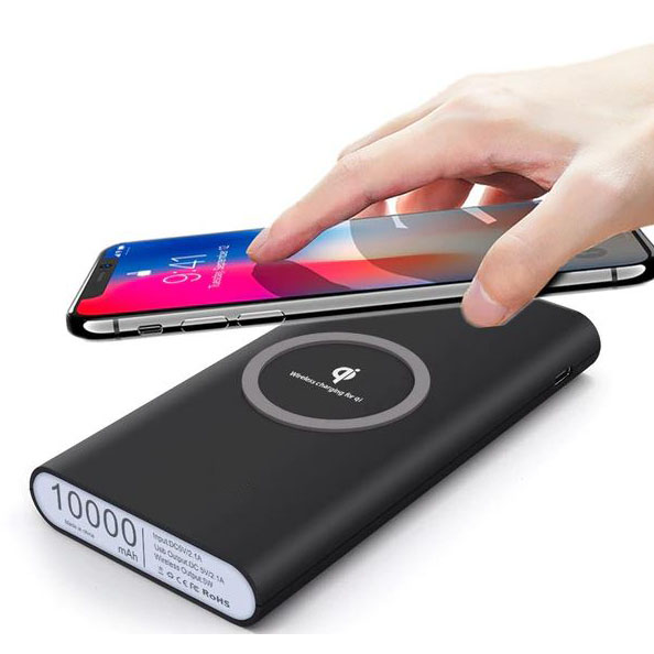 Power Bank Qi Wireless Charging Pad 2 Port 2.1a 10000mah Black 88