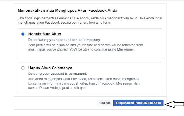 Menghapus Akun Facebook Di Laptop