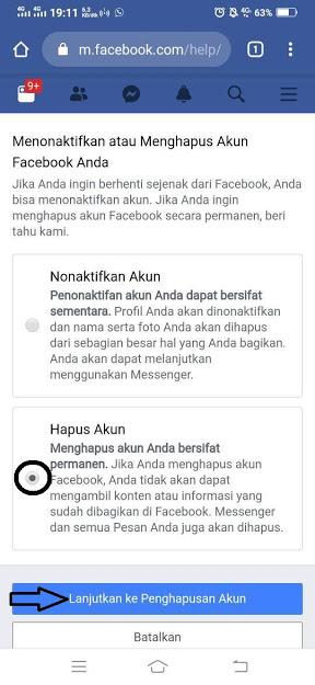 Hapus akun Facebook