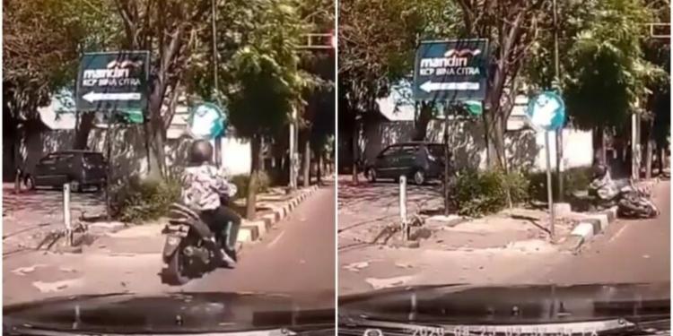Pengendara Yang Nyalip Mobil Malah Ketabrak Pohon