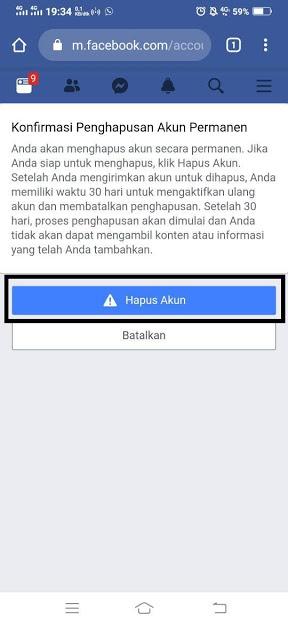 Penghapusan Akun Facebook