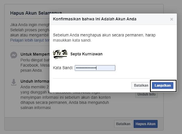 Langkah penghapusan akun Facebook