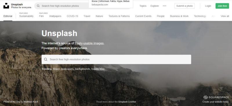 Situs download gambar gratis di Unsplash