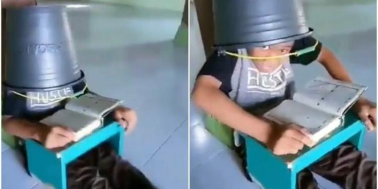 Bocah Menghafal Al Quran Dengan Kepala Ditutup Ember
