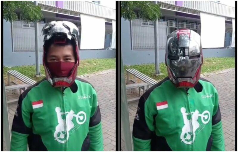 Driver Ojol Ini Gunakan Helm Iron Man