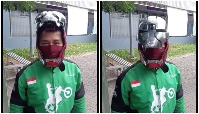 Helm Canggih Iron Man Driver Ojol