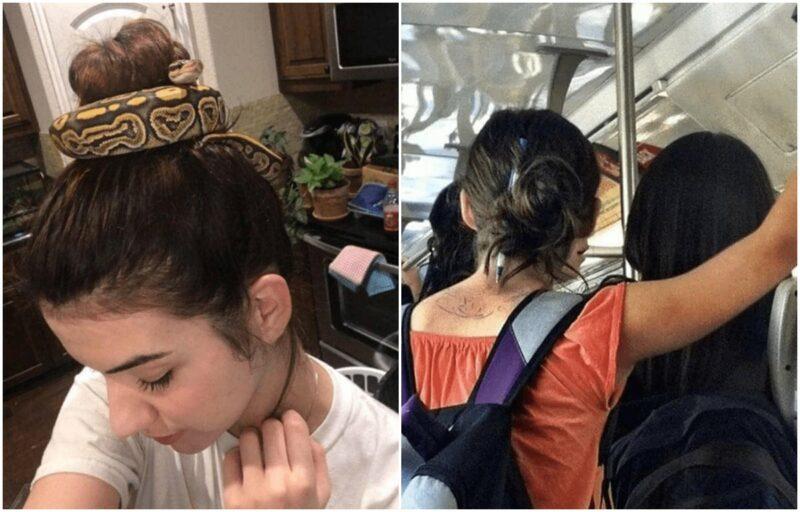 Potret Wanita Ikat Rambut Pake Benda Antimainstream