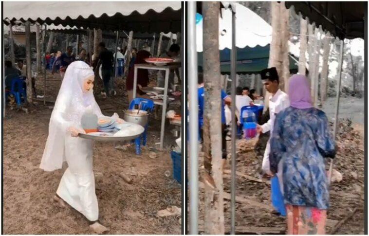 Viral Pasangan Pengantin Angkat Piring Kotor Saat Pernikahannya
