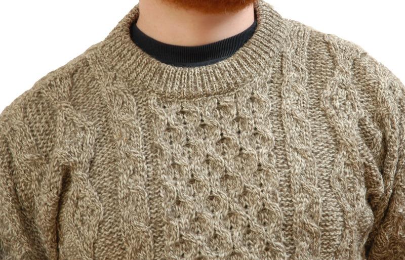 Aran Wool Sweater Oatmeal Detail