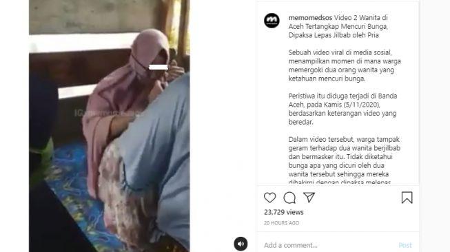 Mencuri Bunga, Wanita Ini Disuruh Buka Jilbabnya