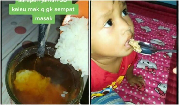 Tiktokers Gabut, Buat Dan Minum Sarapan Teh Dicampur Nasi