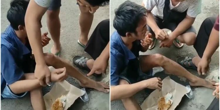 Viral Video Pencuri Dipaksa Makan Setelah Sempak Dihajar