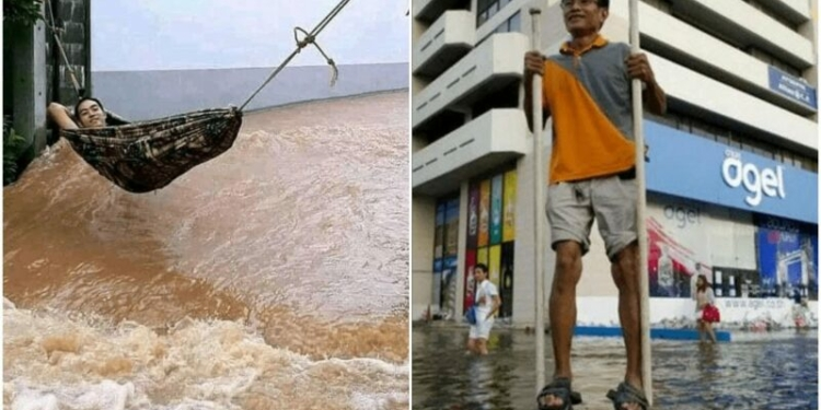 Aksi Kocak Orang Menghadapi Banjir