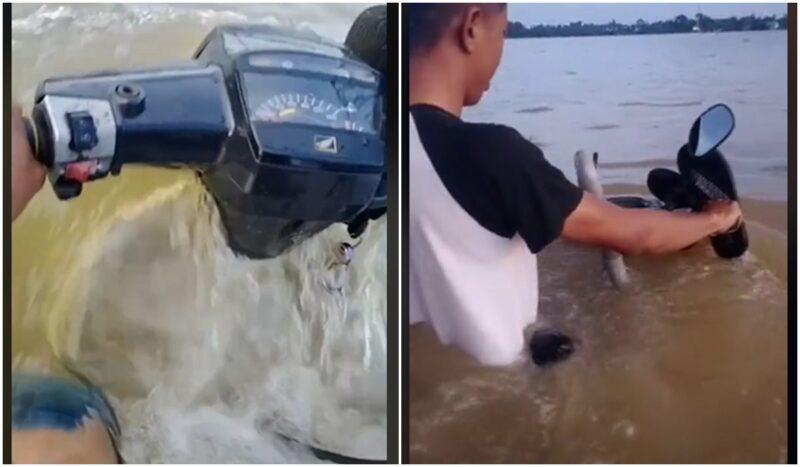 Sepeda Motor Menerjang Banjir