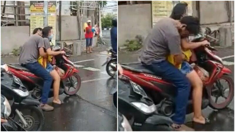 Viral Sepasang Muda Mudi Pelukan Sambil Naik Motor Di Lampu Merah, Si Pria Main Nyosor Aja