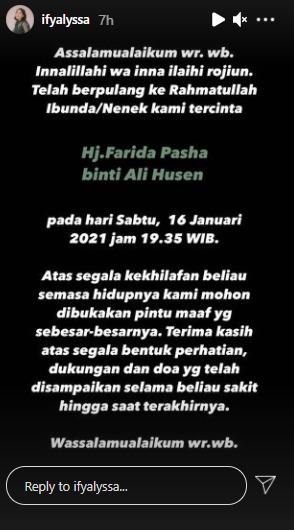 Farida Pasha Meninggal Dunia