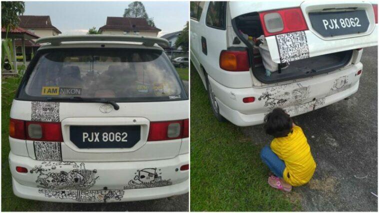 Mobilnya Dicoret Coret Oleh Anaknya, Orangtua Malah Beri Dukungan