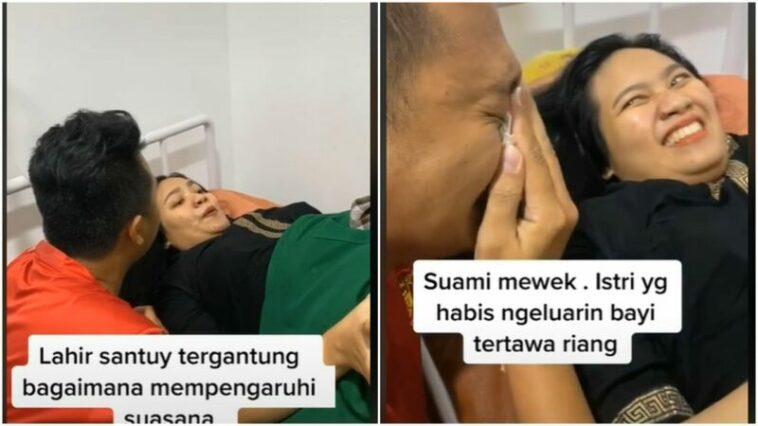 Suami Menangis Ketika Bayi Berhasil Dilahirkan, Sang Istri Justru Tertawa Santuy