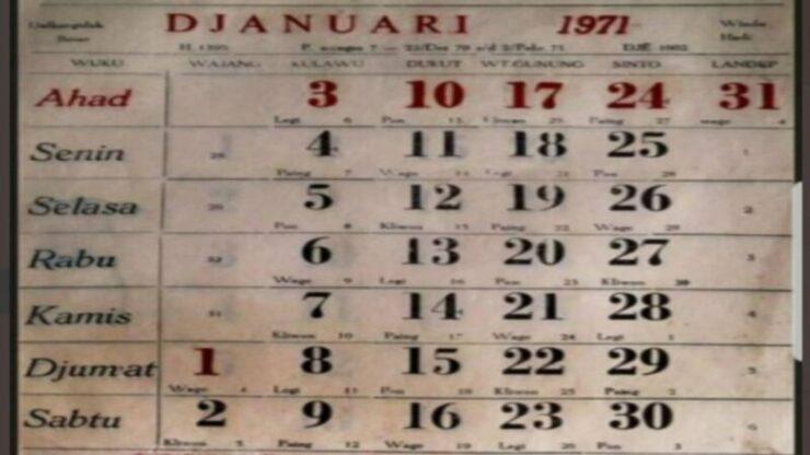 Viral Penampakan Kalender Tahun 1971, Disebut Mirip Dengan Tahun 2021