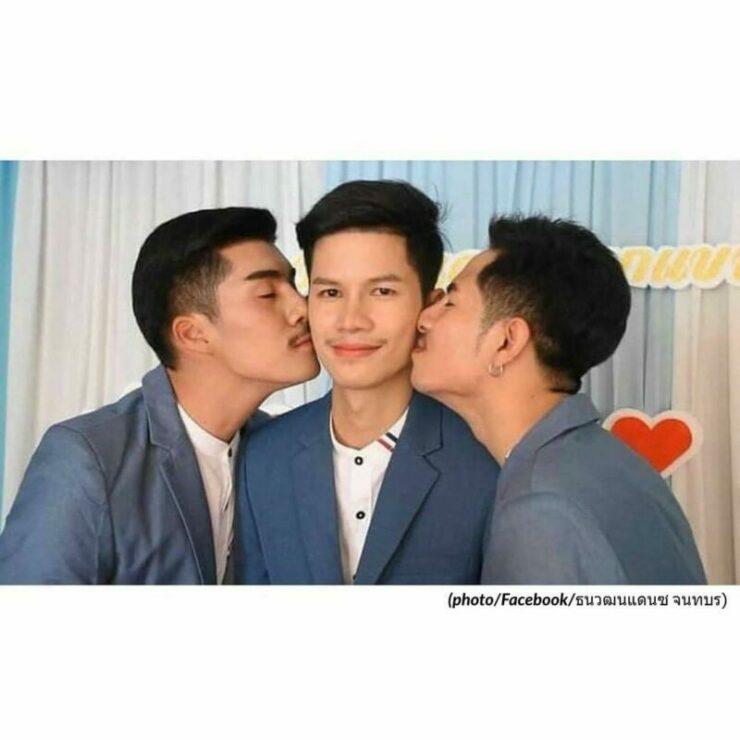 pernikahan sejenis tiga orang pria di thailand