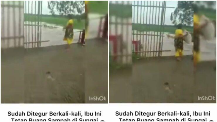 Tak Jaga Kebersihan, Emak Emak Ini Buang Sampah Sembarangan Ke Sungai