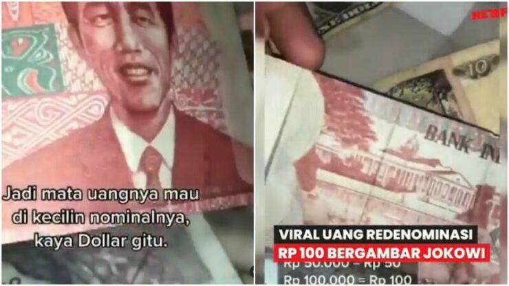 Viral Penampakan Uang Redenominasi Rp 100 Ribu Bergambar Jokowi