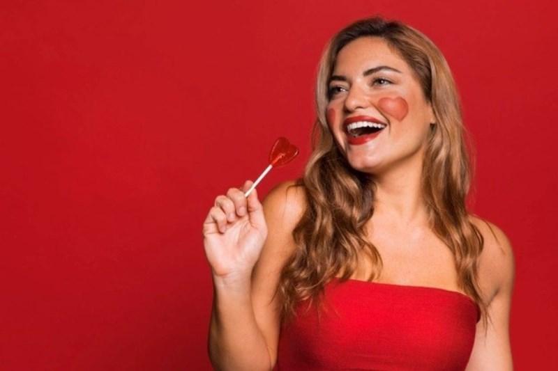 Happy Woman Holding Lollipop 23 2148757634