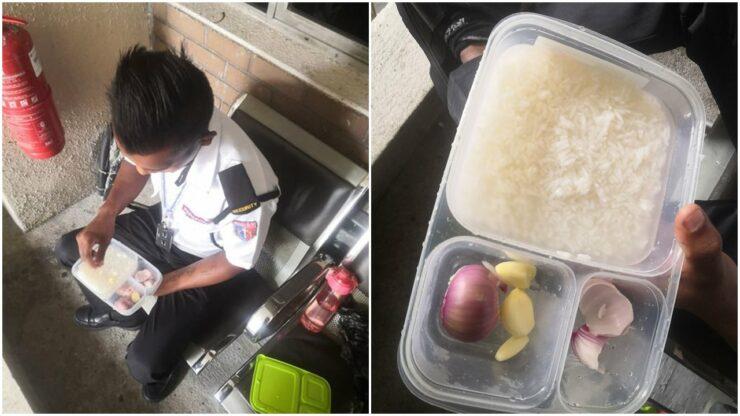 Demi Keluarga Di Kampung, Satpam Ini Rela Cuma Makan Nasi Dicampur Bawang Dan Air Putih