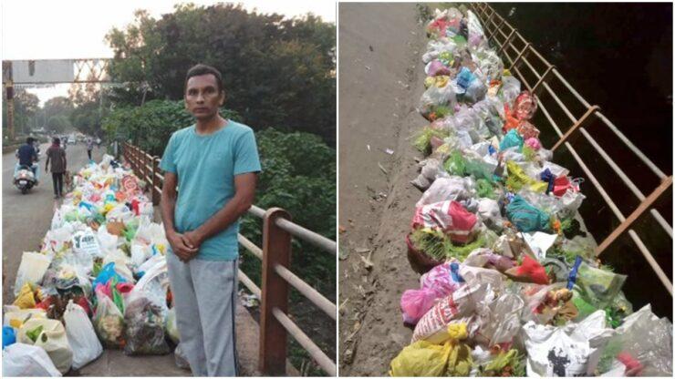 Salut, Pria Ini Berdiri Seharian Di Jembatan Agar Orang Tak Membuang Sampah Ke Sungai