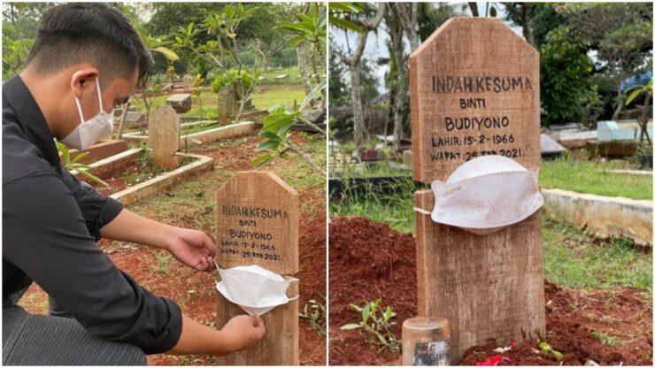 Viral Nisan Di Kuburan Dipakaikan Masker, Pengingat Pandemi Covid 19 Belum Berakhir