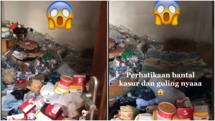 Viral Penampakan Kamar Kos Yang Dipenuhi Dengan Tumpukan Sampah