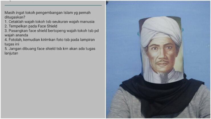 Viral Tugas Sekolah Unik, Disuruh Pakai Face Shield Dengan Foto Tokoh Nasional