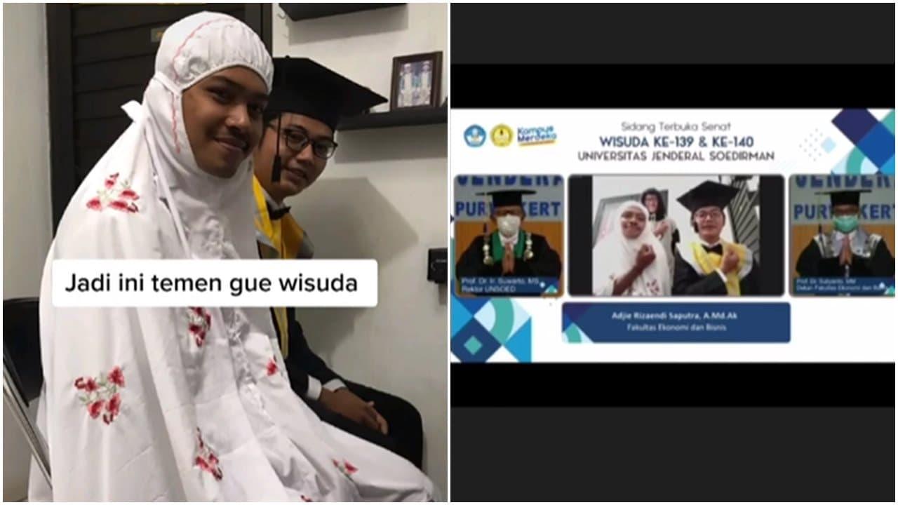 Ngakak Abis, Mahasiswa Ini Wisuda Online Sambil Didampingi Orang Tua 'palsu'