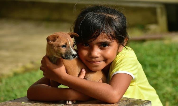 Ilustrasi Memeluk Anjing