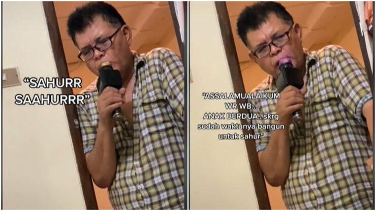 Kocak, Ayah Bangunkan Kedua Anaknya Untuk Sahur Pakai Mikrofon