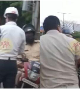 Tak Pakai Helm, Oknum Polisi Ditangkap Oleh Polantas, Baku Hantam Pun Terjadi